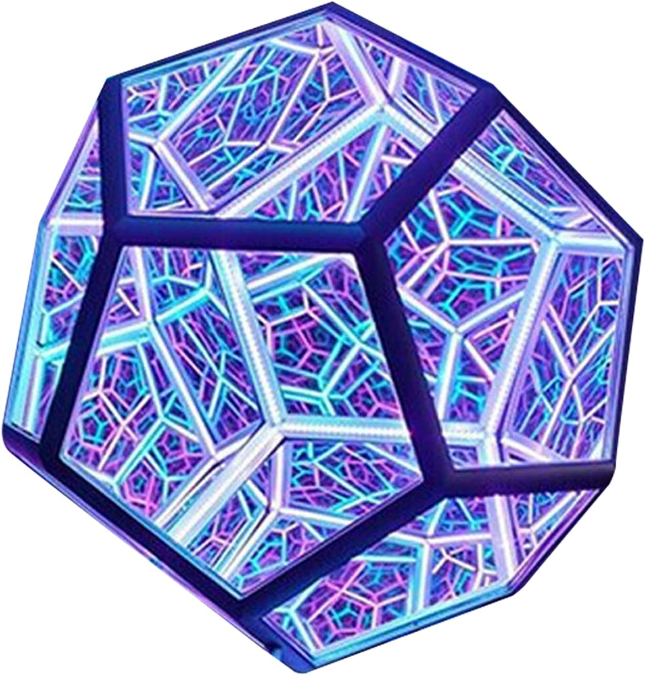 VELIHOME Infinite Dodecahedron quality assurance Color Houston Mall Art N Decorative Light Lamp