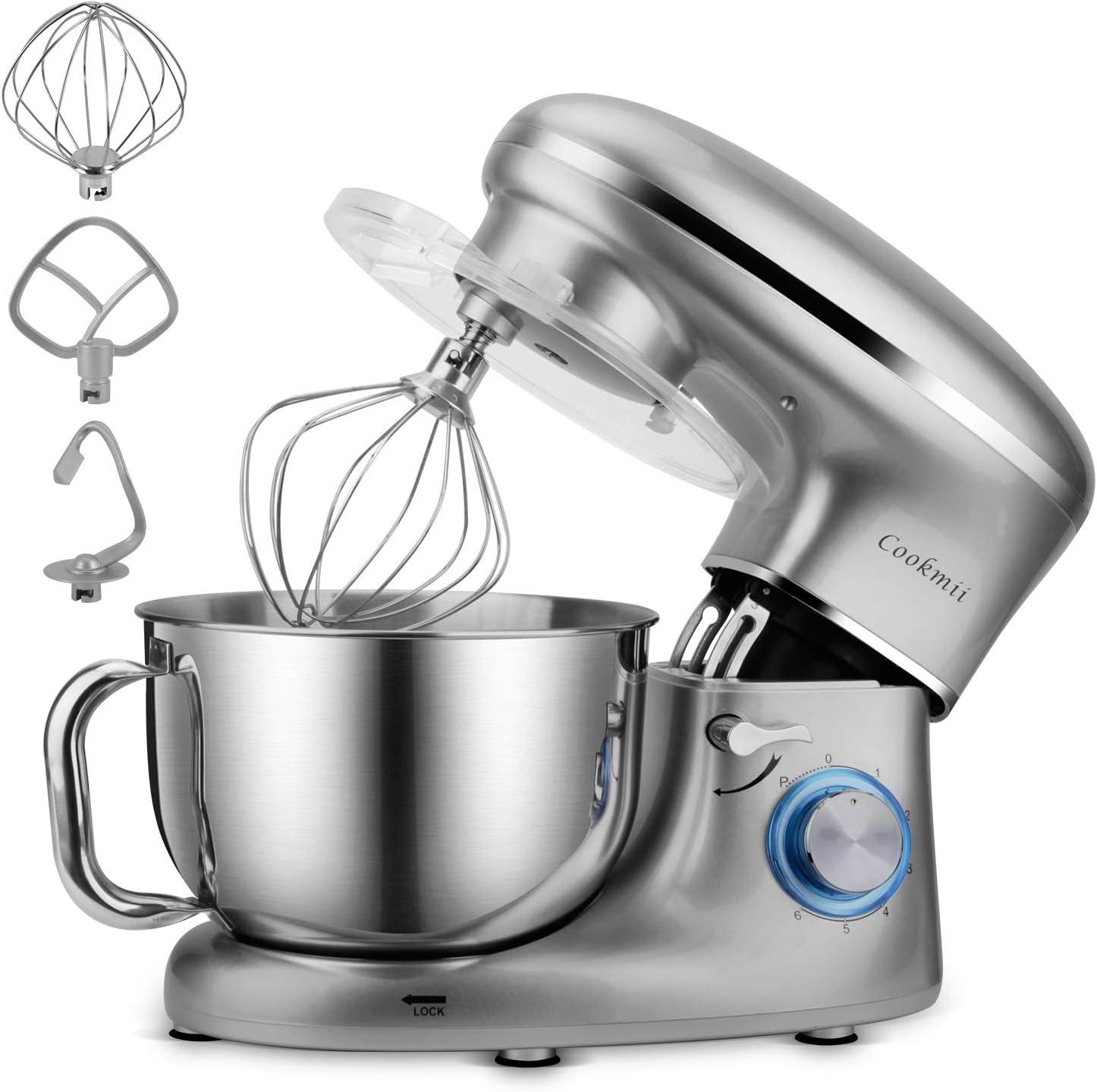 Cookmii Batidora Amasadora, Amasadora de Bajo Ruido, Robot de Cocina Multifuncional, Amasadoras de Pan, Batidora Eléctrica de 6 Velocidades con Recipiente de 5.5 Litros Gancho, Baterista, Látigo