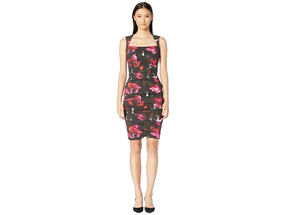 Nicole Miller Fragment Floral Felicity Dress (Black/Multi) Women