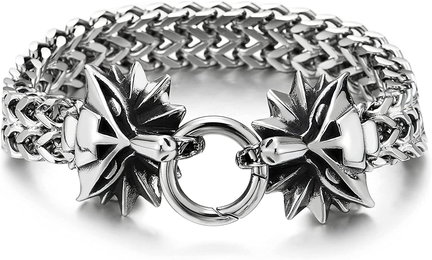 Biker Mens Steel Franco Box Link Chain Bracelet with Vintage Fox Head Spring Ring Clasp, 8.6 Inches