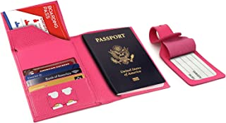 Real Leather Passport Wallet - RFID Blocking with Ticket Slot and Baggage Tag (Pink)