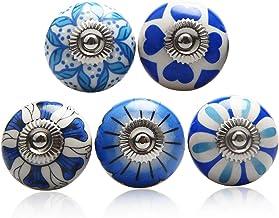 5 Pack Mix Ceramic Cabinet Knobs, Vintage Petal Design Door Knob, Cupboard Wardrobe Dresser Furniture Handle, Kitchen Draw...