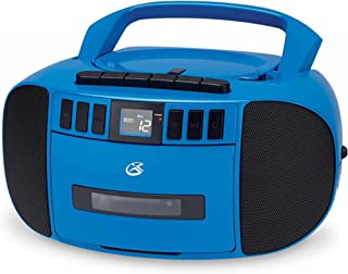GPX BCA209BU Portable Am/FM Boombox with CD and Cassette Player, Blue (Renewed)