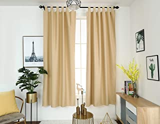 Timme Thermal Insulated Blackout Curtain 2 Panels Tap Top Latte, W42 x L72
