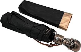 HappyGO Automatic Open Skull Head Three Fold Pure Black Anti-ultraviolet Travel Sunny Umbrella(Golden,30.2 inch 8 bone)