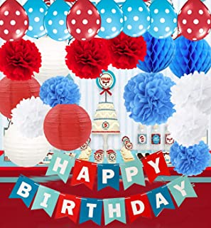 Qian's Party Dr Seuss Cat in The Hat Birthday Party Decorations/Dr Suess Decor Turquoise White Red Happy Birthday Banner Airplane Birthday Decorations Red Blue Balloons