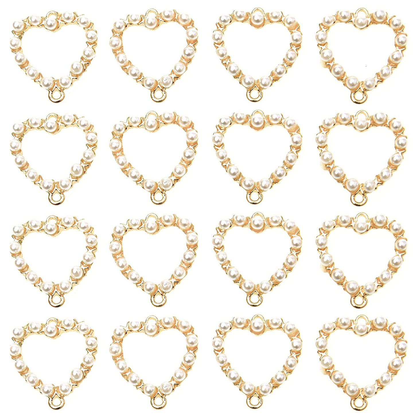 Monrocco 20PCS 25MM Gold Heart Shape Charm Pendant DIY Jewelry Making for Necklaces Bracelets Earring
