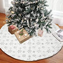 AerWo Christmas Tree Skirt 48 inches with LED Light Christmas Tree Skirt Surwoaly Snow White Luxury Faux Fur Tree Skirts C...