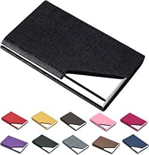 Business Name Card Holder Luxury PU Leather & Stainless Steel Multi Card Case,Business Name Card Holder Wallet Credit Card ID Case/Holder for Men & Women - Keep Your Business Cards Clean (Black) ¡