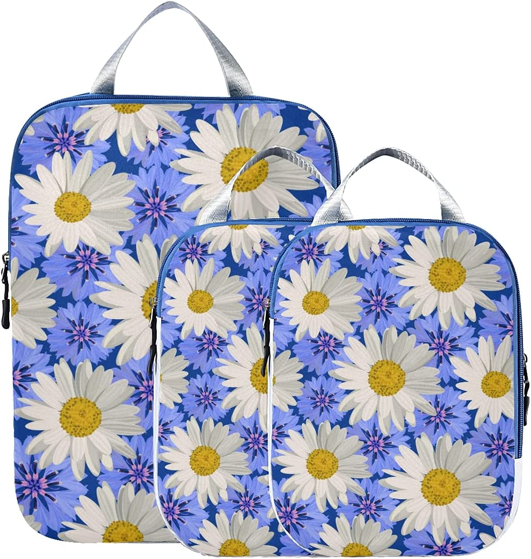 Luggage New products world's highest quality popular Organizer Floral Golden White Dallas Mall Daisy Love Yellow Packing