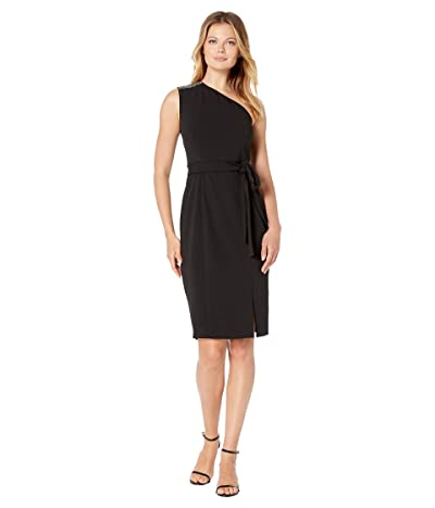 Donna Morgan Stretch Crepe Sparkle Detail One Shoulder Belted Bodycon with Slit Dress (Black) Women