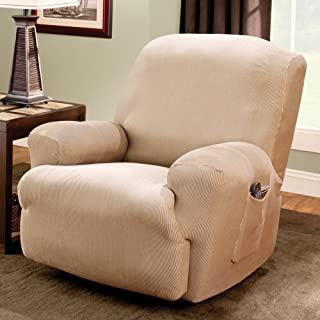 SURE FIT Stretch Stripe 1-Piece Recliner Slipcover, Sand