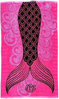 101 BEACH Summer Trendy Printed Large Beach Pool Towel - Personalization Available (Pink Mermaid Tail - Embroidered Monogram)