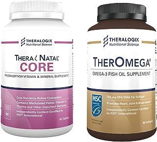 TheraNatal Core + TherOmega Bundle by Theralogix | TheraNatal Core Conception Prenatal Vitamin for Women (90 Day Supply) | TherOmega Omega-3 Wild Alaskan Fish Oil Supplement (90 Day Supply)