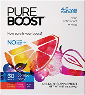 Pureboost Clean Energy Drink Mix. Contains No Sugar No Sucralose. Healthy Energy Loaded with B12, Antioxidants, 25 Vitamins, Electrolytes. (Combo Pack, 30 Count)