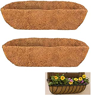 2 Pieces of Pack Tingmei 36 Inch Half Moon Shape Thicker Trough Planter Liner for Window Box