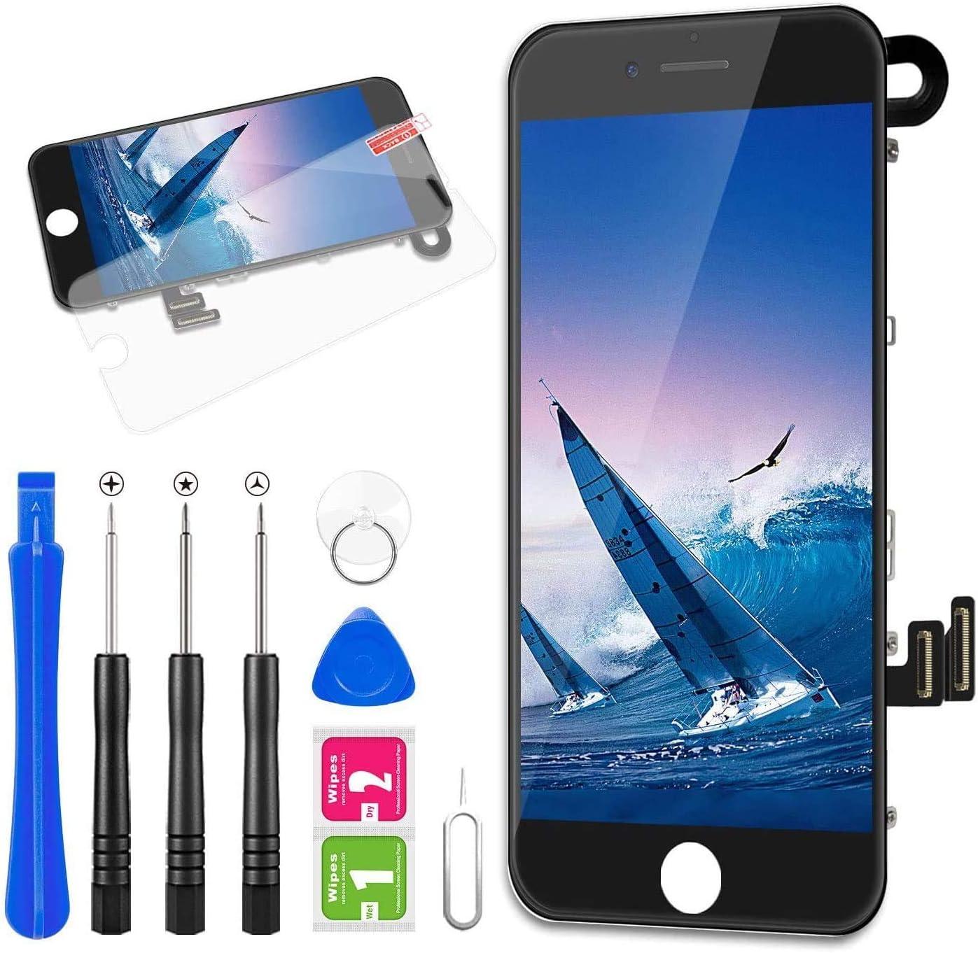 FLYLINKTECH Pantalla para iPhone 7 4.7 '',Táctil LCD de Repuesto Ensamblaje de Marco Digitalizador con cámara Frontal,Sensor de proximidad,Altavoz y Herramientas (Negro)