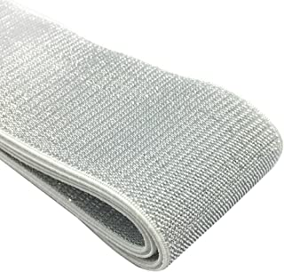 iCraft 2-inch Wide Soft Gold and Silver Glitter Elastic Bands by 3-Yard, Waistband Elastic, Sewing Elastic (Silver Glitter in White) 21050