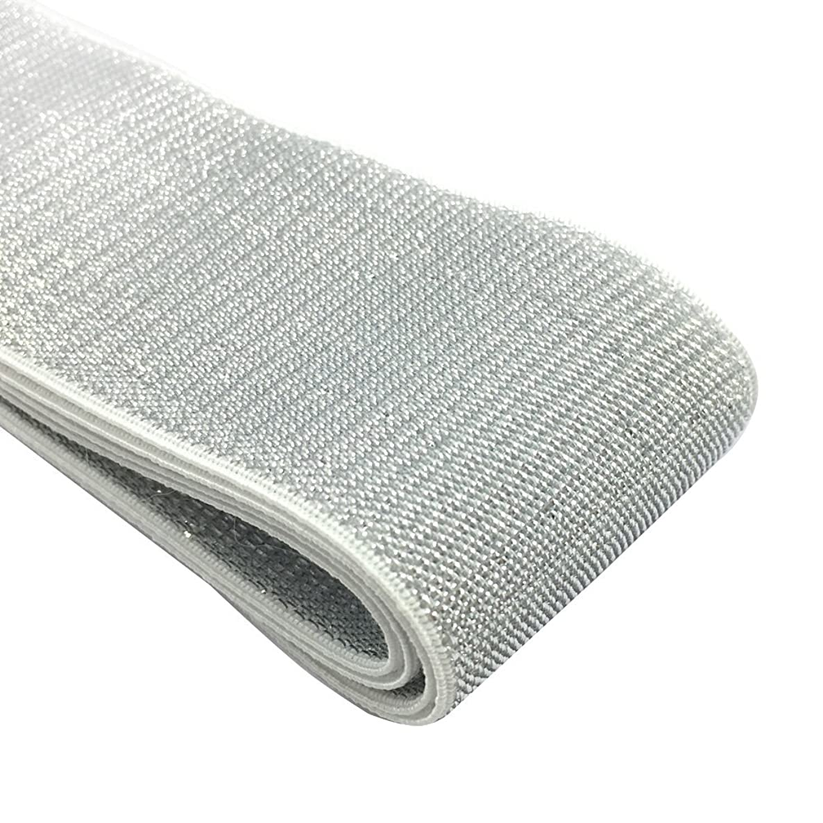 iCraft 2-inch Wide Soft Gold and Silver Glitter Elastic Bands By 3-yard, Waistband Elastic , Sewing Elastic (Silver Glitter in White) 21050