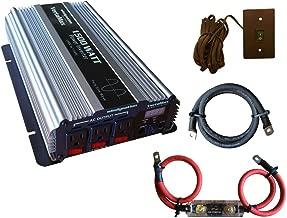 VertaMax Pure SINE Wave 1500 Watt (3000W Surge) 12V Power Inverter DC to AC Power (Cables + Remote Control Switch + ANL Fuse) - Solar, RV