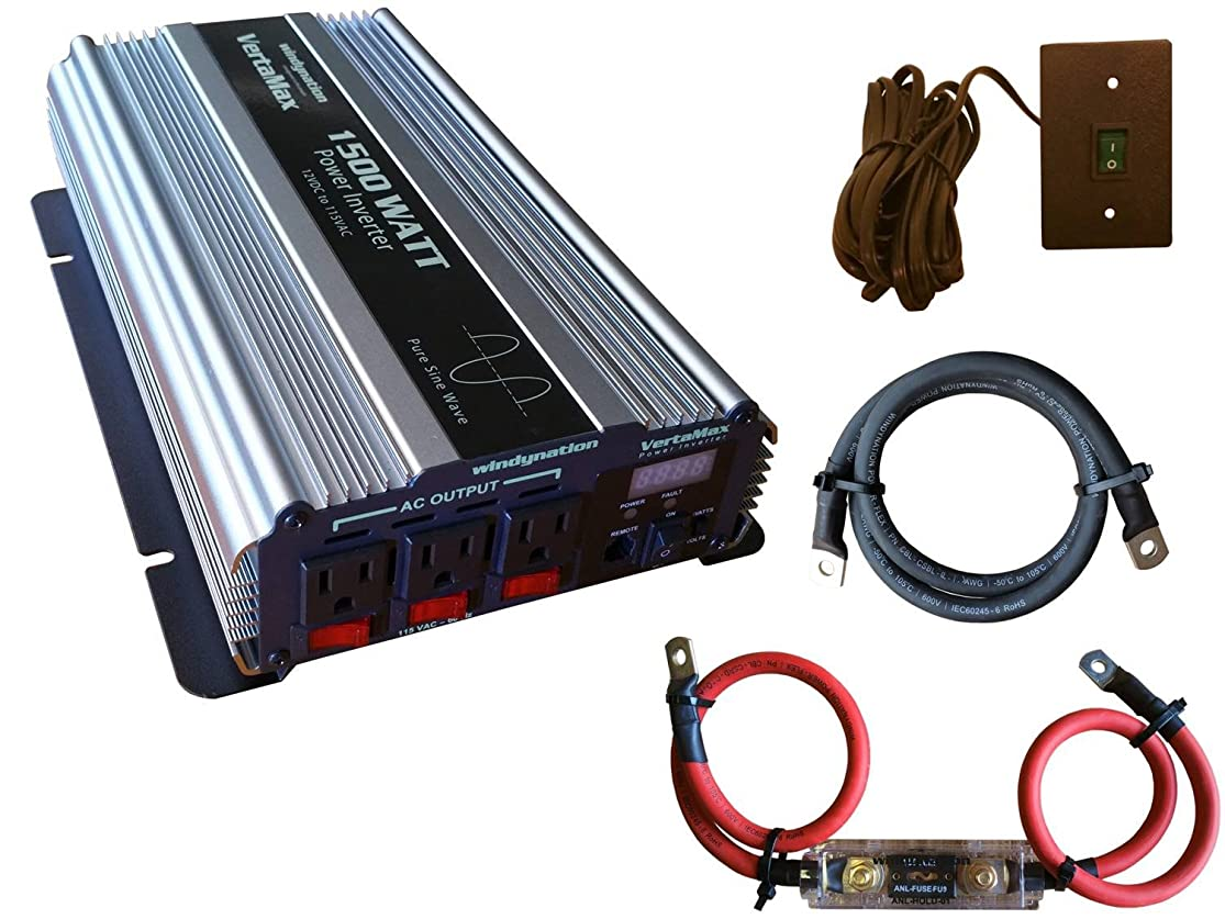 VertaMax Pure SINE Wave 1500 Watt (3000W Surge) 12V Power Inverter DC to AC Power (Cables + Remote Control Switch + ANL Fuse) - Solar, RV ceecxzmw5