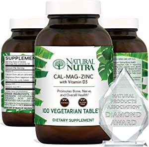 Natural Nutra Calcium Magnesium Zinc Supplement with Vitamin D3 for Bone Strength, Healing and Health, Gluten Free and Sugar Free, Essential Mineral Complex, 1000/500/25 mg, 100 Tablets (3 Pack)