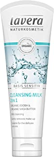 lavera basis sensitiv 2in1 Facial Cleansing Milk & Make-up Remover: Natural & Organic jojoba and shea butter gently remove daily make-up, excess oil & impurities for clean pores - 4 Oz