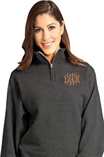 Unisex Customized - Personalized Embroidered Monogrammmed Quarter Zip Pullover Sweater