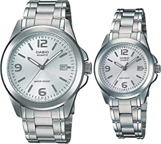 Casio His & Her For Unisex Silver Dial Stainless Steel Band Couple Watch - MTP/LTP-1215A-7A