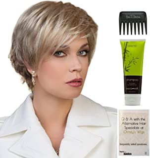 Bundle - 4 Items: Joy Wig By Ellen WIlle, Christy's Wigs Q & A Booklet, BeautiMark Synthetic Shampoo & Wide Tooth Comb - Color: Sandy Blonde Rooted