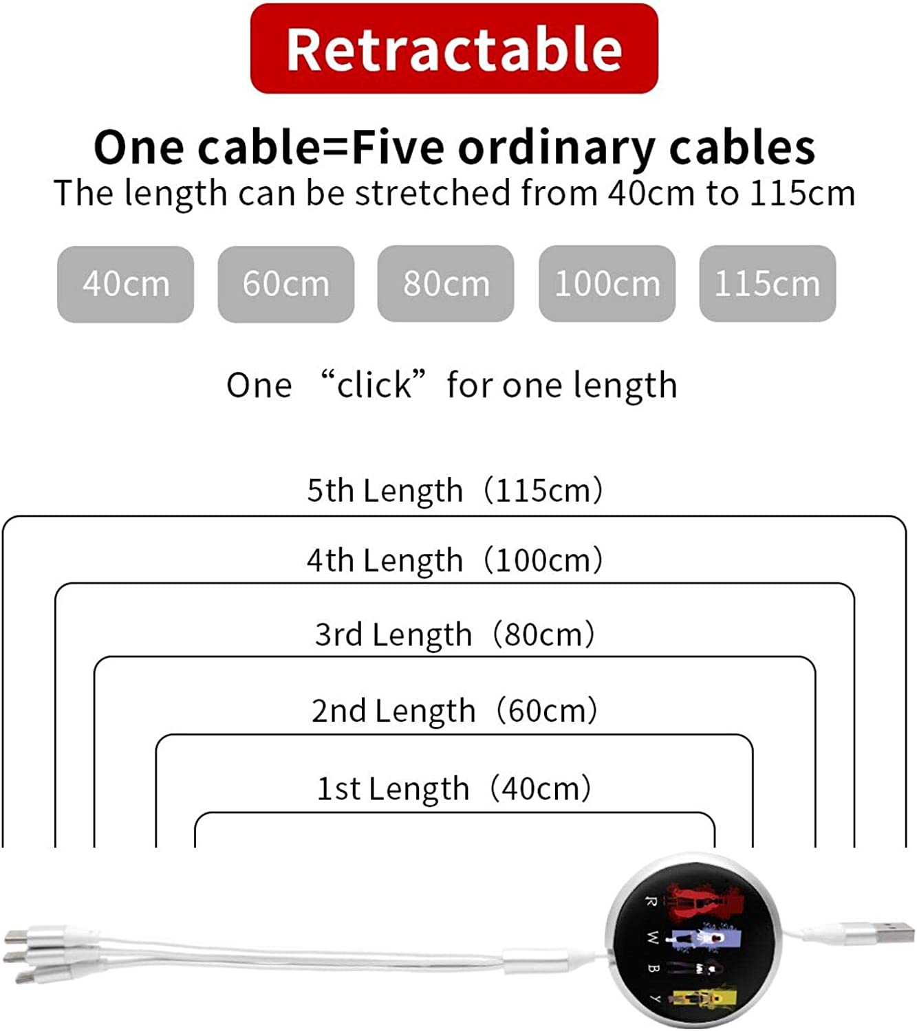 Fejarx RWBY Multi USB Retractable Charging Cable 4ft 3 in 1 Multiple Charger Cord Adapter Micro USB Port Compatible Cell Phones Tablets and More Universal Use B-1