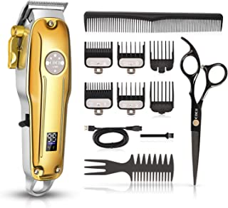 Cordless Hair Clippers, CIICII Professional Hair Clippers Trimmer Set (12Pcs Hair Beard Cutting Grooming Trimming Shaping Kit) for Men Women Kids Pets Home Barber Salon
