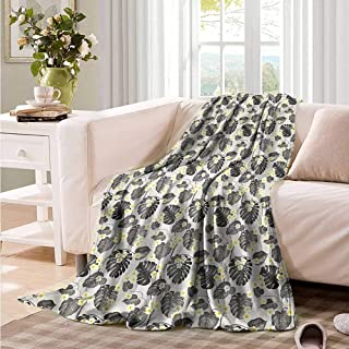 Oncegod Baby Blanket Grey and Yellow Tropical Plumeria Blanket on Bed Sofa Bedding 93
