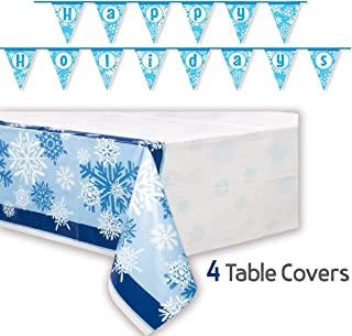 4 Snowflake Plastic Tablecovers + 1 Happy Holidays Banner - Disposable Tablecloths are 84 x 54 Each and Decoration is 14 feet Long. Great for Winter and Christmas Parties and Decorations