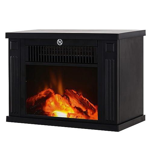 Homcom Cheminée électrique poêle Style Contemporain Thermostat 600-1200 W Noir