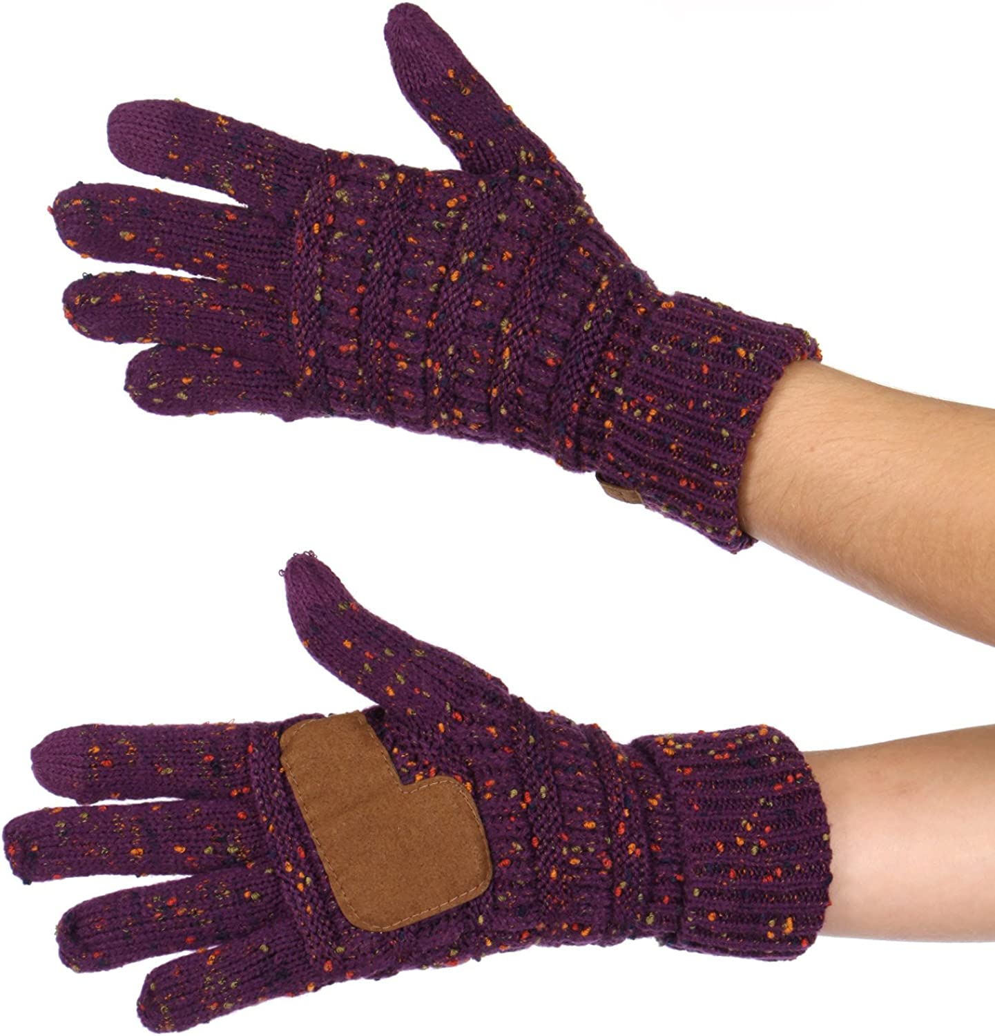 Touchscreen gloves women. Warm winter texting gloves Cable Knit. Authentic CC Gloves. Non slip faux suede palm.
