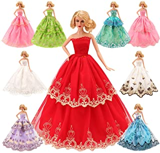Barwa 5 Pcs Handmade Fashion Wedding Party Gown Dresses & Clothes for 11.5 Inch 30 cm Doll Xmas Gift
