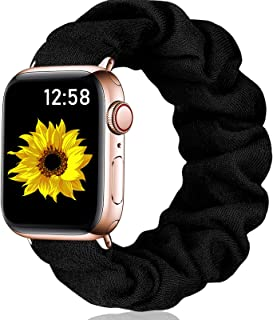 henva scrunchies band compatible with apple watch se series 6/5 40mm for women grils, soft elastic scrunchy floral wristbands replacement for iwatch 38mm series 3/2/1, black, s/m