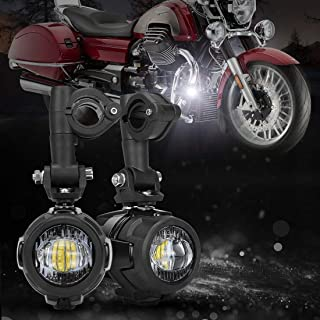 SUPAREE 2 Pieces 40W LED Auxiliary Lamp 6000K Super Bright Fog Driving Light Kits Led Lighting Bulbs DRL for Motorcycle BMW R1200GS F800GS K1600 KTM HONDA Harley Davidson