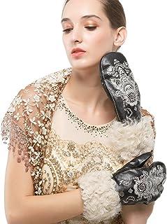 Nappaglo donne è vera pelle d'agnello di pelle italiana di alta qualità a ricami inverno caldo guanti i guanti di lana