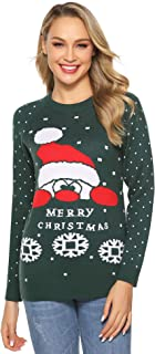 Abollria Ugly Christmas Sweater for Women Vintage Santa Snowflakes Knit Sweater Pullover