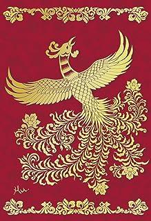 AAN28-2149 和風グリーティングカード/むねかた 金箔 「鳳凰」 (中紙・封筒付) 再生紙 金箔押
