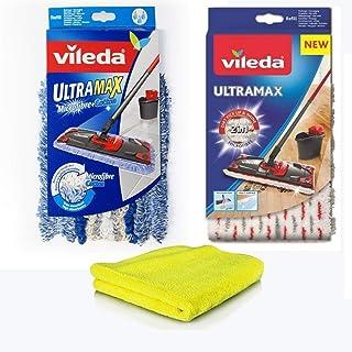 Vileda UltraMax nakładki zastępcze z mikrofibry i silikonu, 2 x poszewki na mop z mikrofibry Vileda + bawełna do płytek, p...