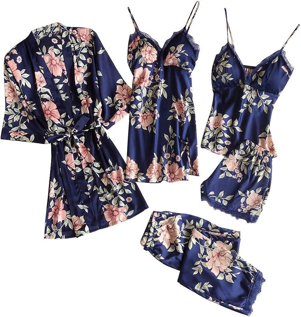 Forwelly Women 5 Pieces Sexy Satin Kimono Robe Bathrobe+Trousers+Shorts+Nightdress+Camisole Lingerie Set Pajamas Sleepwear