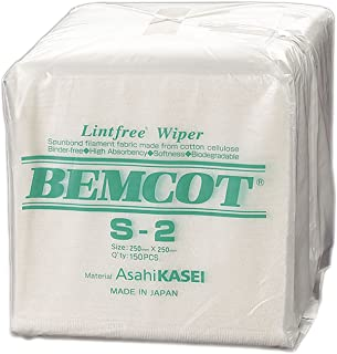 """Contec S2 Bemcot S2 100 Percent Filament Rayon Nonwoven Quarter-Fold Low-Linting Wipe, Extremely Absorbent, 10"""" Length x 1..."""