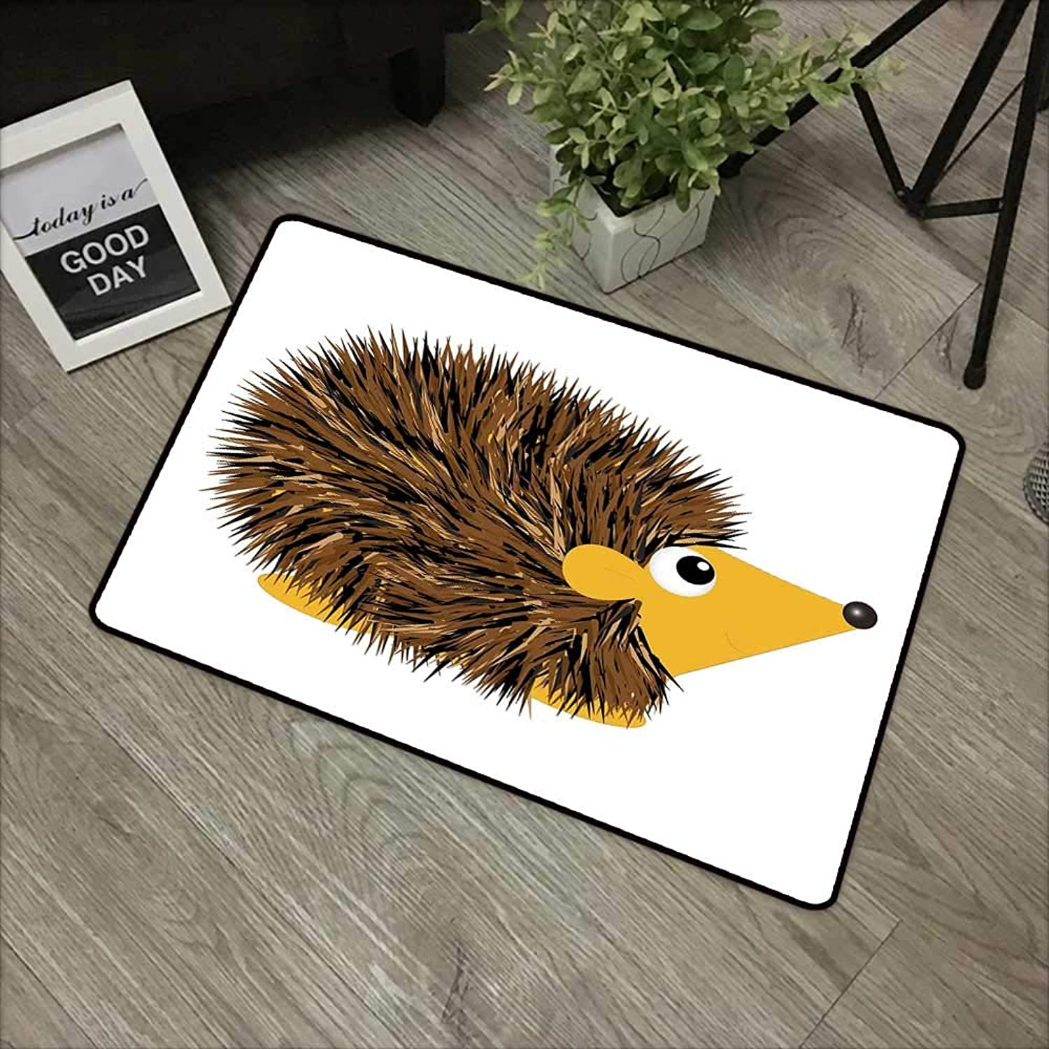Bathroom Door mat W35 x L47 INCH Hedgehog,Cartoon Animal with a Happy Smile on Its Face Hedgehog Illustration Spikes,Brown Earth Yellow Non-Slip, with Non-Slip Backing,Non-Slip Door Mat Carpet