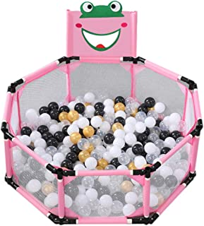 ZAQ Folding Toddler Play Yard with Backboard  Boys Girls Portable Small Fence with Floor Mat  Room Divider Playpen  Color Pink  Size With 300 Balls