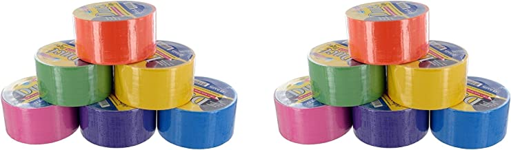 Bazic Fluorescent Colored Duct Tape, Assorted Colors, 1.89-inch x 10 Yard (2 X Pack of 6)
