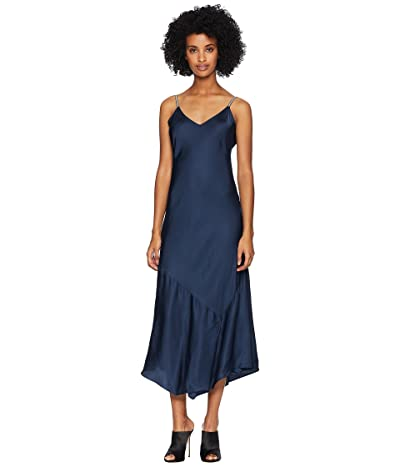 The Kooples Long Dress with Straps in Satin Viscose (Navy) Women