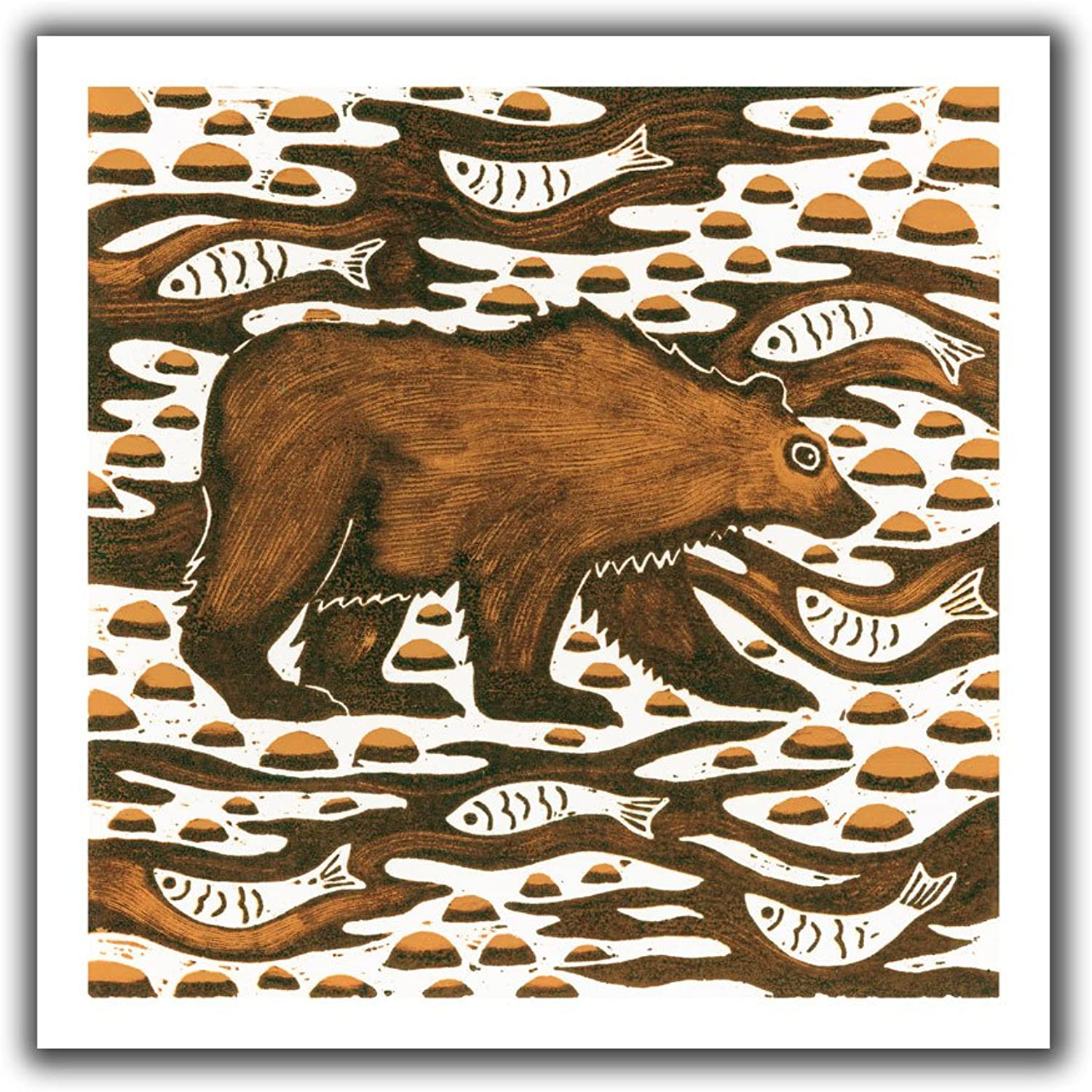 Art Wall Nat Morley Fishing Bear Unwrapped Flat Canvas Artwork, 18 by 22Inch